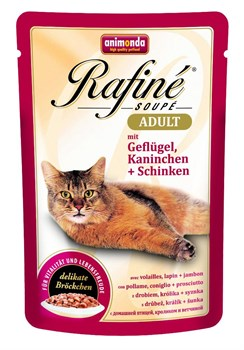 Animonda - Паучи для взрослых кошек (с домашней птицей, кроликом и ветчиной) Rafine Soupe Adult - фото 15707