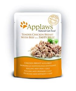 "Applaws - Паучи для кошек ""Кусочки курицы и говядины в желе"" Cat Pouch Chicken with Beef in Jelly - фото 15992"