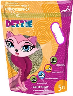 Dezzie - Наполнитель для кошачьих туалетов комкующийся (без запаха) 5л - фото 16898
