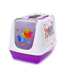 Moderna - Туалет-домик Trendy cat с угольным фильтром и совком, 57х45х43, Друзья навсегда фиолетовый - фото 17184