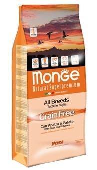Monge - Сухой корм беззерновой для собак всех пород (утка с картофелем) Dog Grain Free - фото 17333