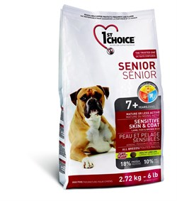 1St Choice - Сухой корм для пожилых собак с чувствительной кожей и для шерсти (ягнёнок с рыбой и рисом) - фото 17520
