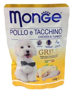 Monge - Паучи для собак (курица с индейкой) Dog Grill Pouch - фото 18235
