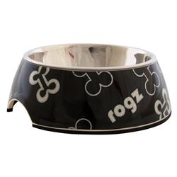 "Rogz - Миска 2 в 1 ""Черные косточки"", 350 мл BUBBLE BOWLZ MEDIUM - фото 18864"