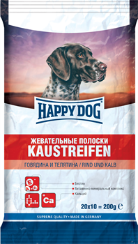 Happy Dog - Жевательные полоски для собак (с говядиной и телятиной) Kaustreifen - фото 18984