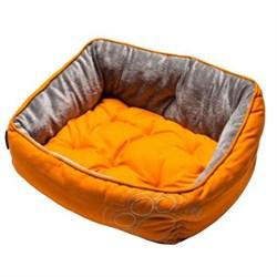 """Rogz - Мягкий лежак с двусторонней подушкой """"Оранжевая лапка"""", размер M (56х43х29см) LUNA PODZ MEDIUM - фото 19187"""