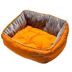 "Rogz - Мягкий лежак с двусторонней подушкой ""Оранжевая лапка"", размер S (52х38х25см) LUNA PODZ - фото 19192"