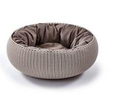 """Curver PetLife - Лежак для животных """"Вязаный комфорт"""" с подушкой, 54*20,2 см, дымчато-бежевый - фото 19223"""