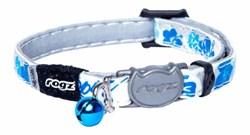 """Rogz - Ошейник с застежкой для кошек """"Синие цветы"""" (ширина 1,1 см, размер 20-31 см) GLOWCAT SAFELOC BUCKLE COLLAR - фото 20448"""