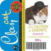 Clan - Консервы для кошек (паштет с лососем и креветками)