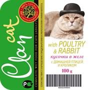 Clan - Консервы для кошек (кусочки в желе с домашней птицей и кроликом)