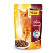 Purina Friskies - Влажный корм для кошек (с говядиной в подливе)