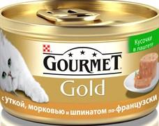 Purina Gourmet - Влажный корм для кошек (кусочки в паштете с уткой, морковью и шпинатом по-французски) Gold Террин