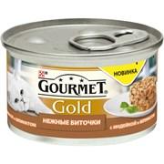 Purina Gourmet - Влажный корм для кошек (Нежные биточки с индейкой и шпинатом) Gold