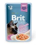 """Brit - Паучи для стерилизованных кошек """"Кусочки из филе лосося в соусе"""" GRAVY Salmon fillets for sterilised"""