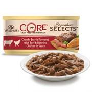 Wellness Core - Консервы для кошек (кусочки говядины и куриное филе в соусе) Signature Selects