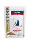 Royal Canin (вет. диета) - Паучи для кошек при почечной недостаточности (с говядиной) RENAL