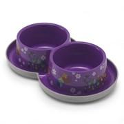 Moderna - Двойная нескользящая миска с защитой от муравьев Trendy - Друзья навсегда, фиолетовая, 2 *350 мл
