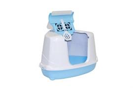 Moderna - Туалет-домик угловой Flip с угольным фильтром, 55х45х38см, небесно-голубой