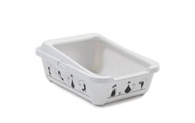 "Moderna - Туалет-лоток ""Силуэт кошки"" с рамкой, 51х39х19см, белый"
