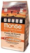 Monge - Сухой беззерновой корм для щенков утка с картофелем Dog GRAIN FREE