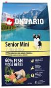 Ontario - Сухой корм для пожилых собак малых пород (с 7 видами рыбы и рисом) Senior Mini, 7 Fish & Rice