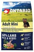 Ontario - Сухой корм для собак малых пород (с ягненком и рисом) Adult Mini Lamb & Rice