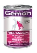 Gemon Dog - Консервы для собак средних пород (кусочки говядины с печенью) Adult Medium