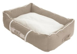 Rogz - Лежак с бортиком и двусторонней подушкой, бежевый/кремовый, средний (72x45x25 см) LOUNGE POD MEDIUM