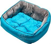 """Rogz - Мягкий лежак с двусторонней подушкой """"Голубой цветок"""", размер S (52х38х25см) LUNA PODZ"""
