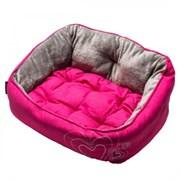 """Rogz - Мягкий лежак с двусторонней подушкой """"Розовое сердце"""", размер S (52х38х25см) LUNA PODZ"""