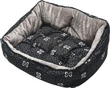 "Rogz - Мягкий лежак с двусторонней подушкой ""Черные косточки"", размер S (52х38х25см) TRENDY PODZ"