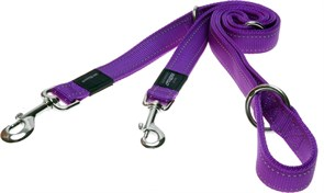 Rogz - Поводок-перестежка, фиолетовый (размер XL - ширина 2,5 см, длина 1-1,3-1,6 м) UTILITY MULTI PURPOSE LEAD