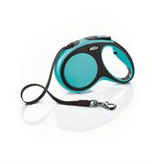 Flexi - Рулетка-ремень для собак, размер M - 5 м до 25 кг (голубая) New Comfort Tape blue