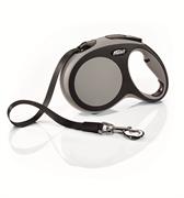 Flexi - Рулетка-ремень для собак, размер L - 5 м до 60 кг (серая) New Comfort Tape grey