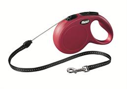 Flexi - Рулетка-трос для собак, размер S - 8 м до 12 кг (красная) New Classic cord red