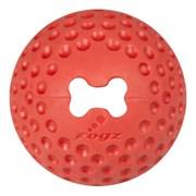 Rogz - Мяч из литой резины с отверстием для лакомств, большой (красный) GUMZ BALL LARGE