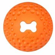 Rogz - Мяч из литой резины с отверстием для лакомств, большой (оранжевый) GUMZ BALL LARGE