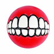 Rogz - Мяч с принтом зубы и отверстием для лакомств, малый (красный) GRINZ BALL SMALL