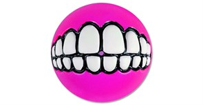 Rogz - Мяч с принтом зубы и отверстием для лакомств, малый (розовый) GRINZ BALL SMALL