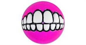 Rogz - Мяч с принтом зубы и отверстием для лакомств, средний (розовый) GRINZ BALL MEDIUM