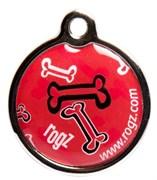 """Rogz - Адресник металлический малый """"Красные косточки"""" METAL ID TAG SMALL"""