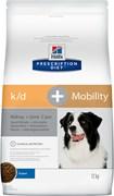 Hill's (вет. диета) - Сухой корм для собак лечение заболеваний почек + суставы K/D+Mobility