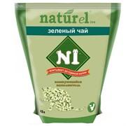 """N1 - Комкующийся древесный (гималайский кедр) наполнитель """"Зеленый чай"""", Naturel на 4,5л"""