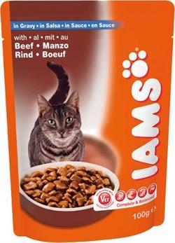 Iams - Паучи для взрослых кошек (с говядиной в соусе) Cat Pouch - фото 15433