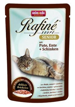 Animonda - Паучи для кошек старше 7 лет (с индейкой, уткой и ветчиной) Rafine Soupe Senior - фото 15717