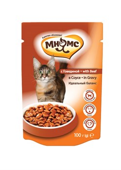 Мнямс - Паучи для взрослых кошек в соусе, идеальный баланс (говядина) - фото 15756