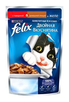 """Purina Felix - Влажный корм для кошек """"Двойная вкуснятина"""" (с говядиной и домашней птицей в желе) - фото 16123"""
