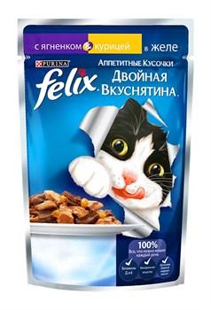 """Purina Felix - Влажный корм для кошек """"Двойная вкуснятина"""" (с ягненком и курицей в желе) - фото 16126"""