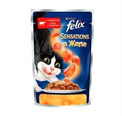 Purina Felix - Влажный корм для кошек (с говядиной и томатами в желе) Sensations - фото 16128